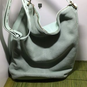 Street Level Vegan Leather Verticle Tote, Mint